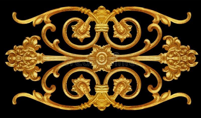 Элементы орнамента, винтажное золото флористическое стоковая фотография