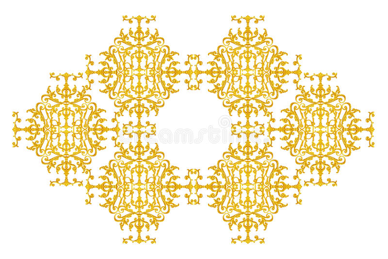 Элементы орнамента, винтажное золото флористическое стоковое изображение rf