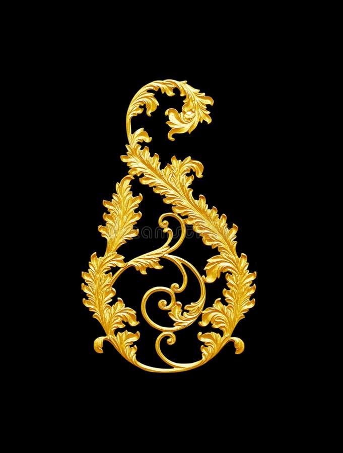 Элементы орнамента, дизайны винтажного золота флористические стоковые фото