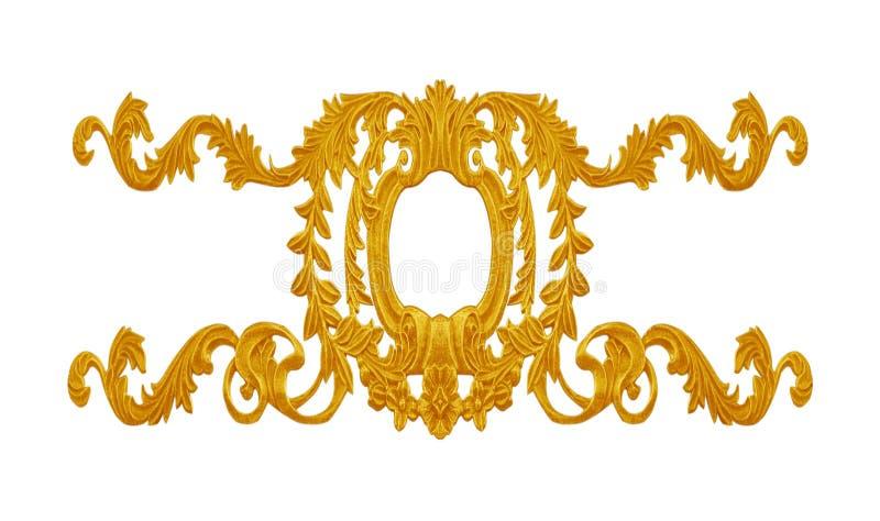 Элементы орнамента, дизайны винтажного золота флористические стоковые изображения