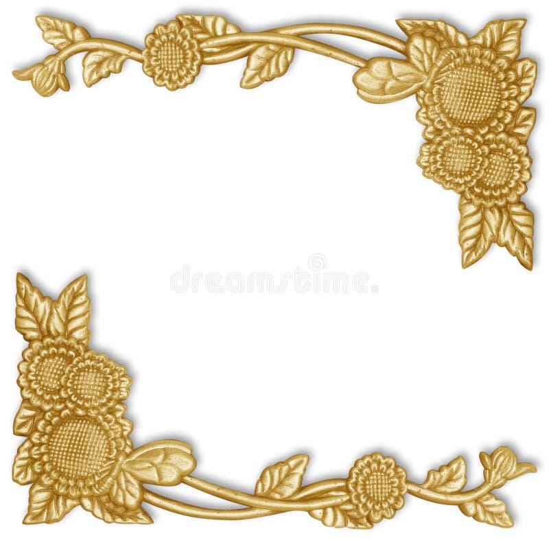 Элементы орнамента, дизайны винтажного золота флористические стоковая фотография rf