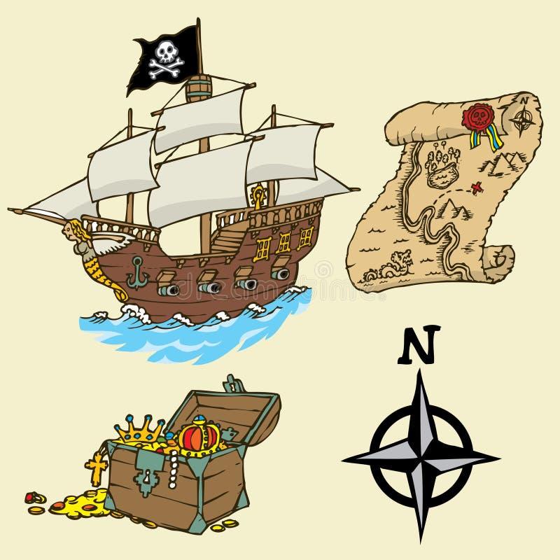 Элементы пирата цвета иллюстрация штока