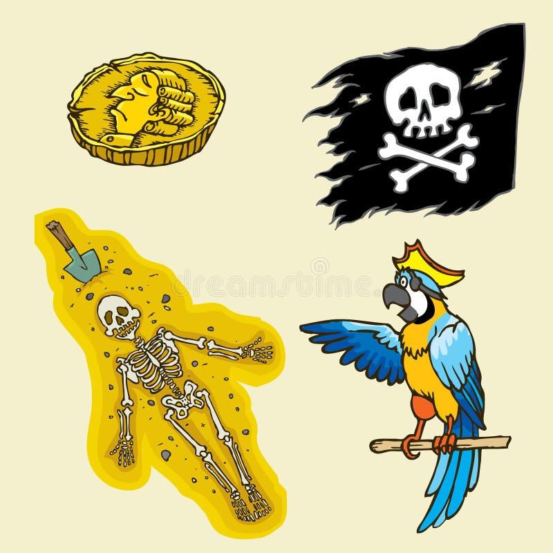 Элементы пирата бесплатная иллюстрация