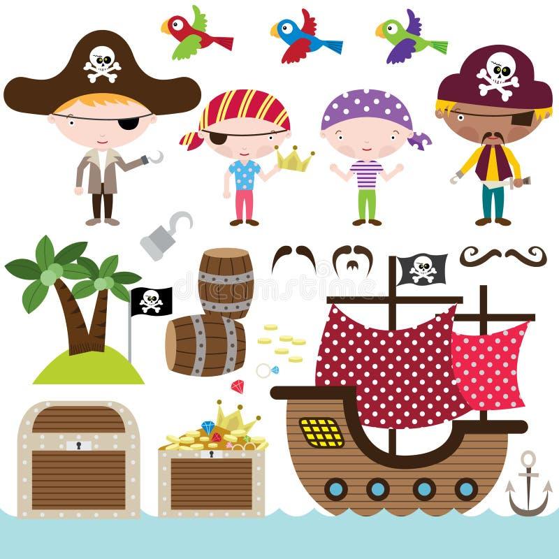 Элементы пирата иллюстрация вектора
