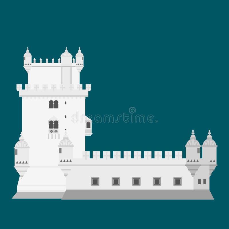 Элементы Португалии ориентир ориентира перемещения Плоская башня Belem значков архитектуры и здания Национальный португальский си иллюстрация вектора