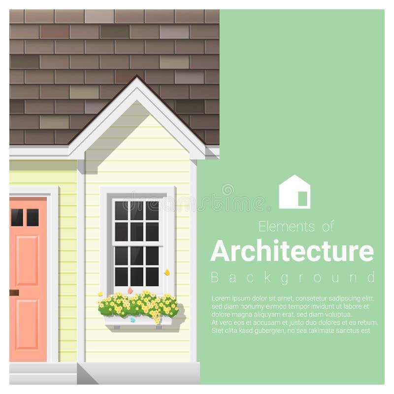 Элементы предпосылки архитектуры с небольшим домом иллюстрация вектора
