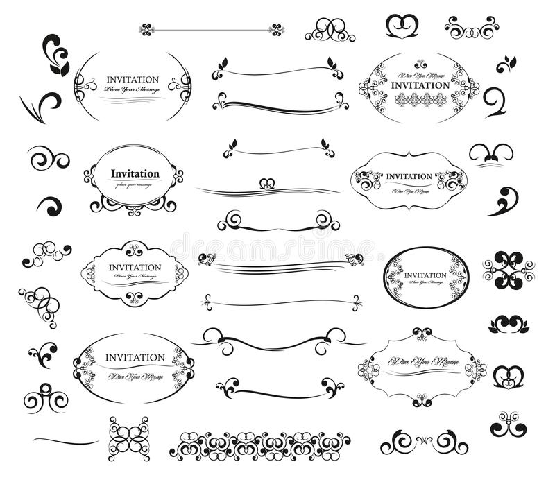 Элементы приглашение дизайна большого вектора установленные каллиграфические и украшение страницы иллюстрация вектора