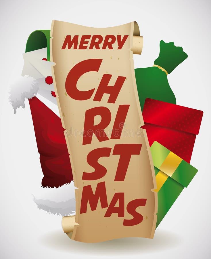 Элементы рождества вокруг плаката переченя, иллюстрации вектора иллюстрация штока