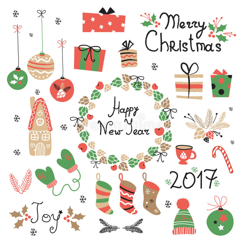 Элементы рождества установленные графические с венком, тортом, домом пряника, mittens, игрушками, подарками и носками иллюстрация штока