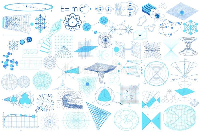 Элементы, символы и схемы науки иллюстрация вектора