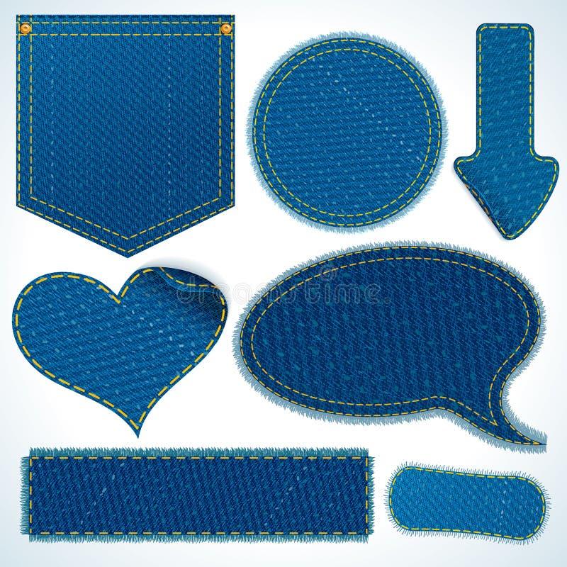 Элементы ткани джинсов. Объекты изолированные на белизне иллюстрация вектора