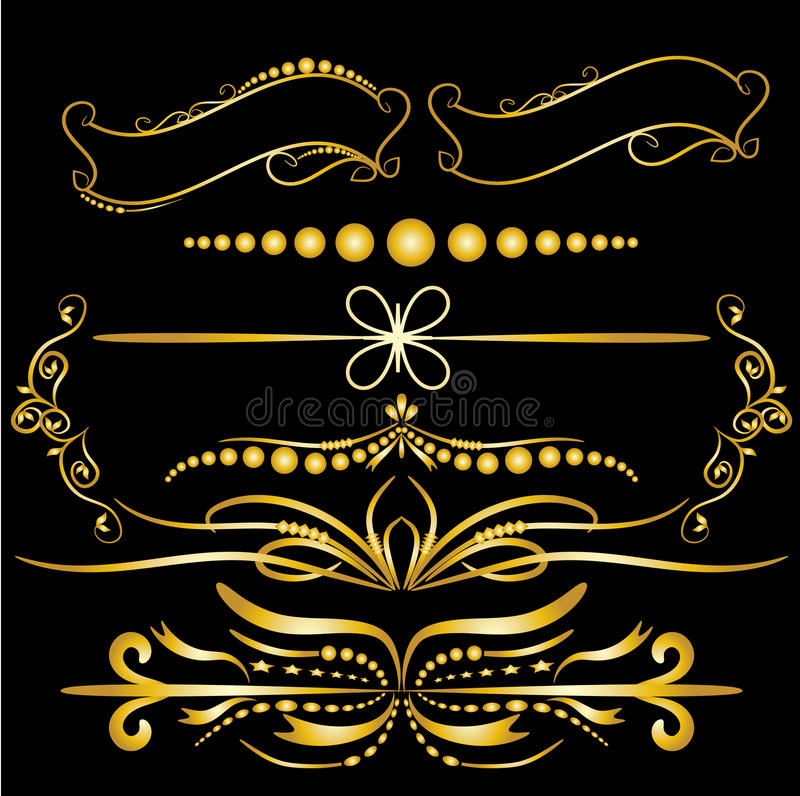 Элементы украшений золота цвета винтажные расцветают каллиграфическая предпосылка орнаментов и рамок черная бесплатная иллюстрация
