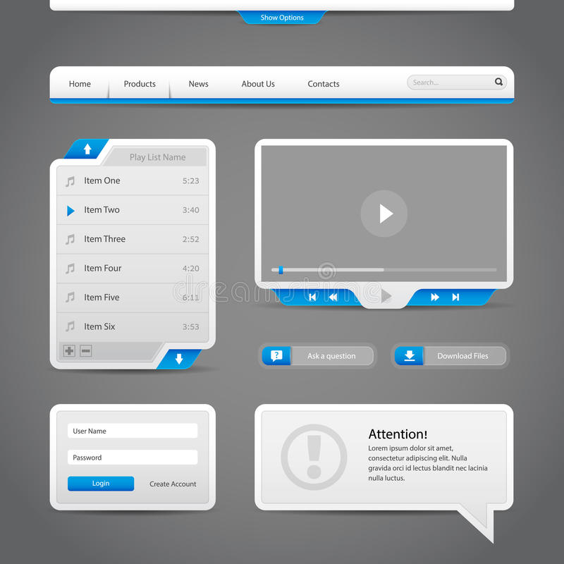 Элементы управлениями сети UI серые и голубые на темной предпосылке иллюстрация штока