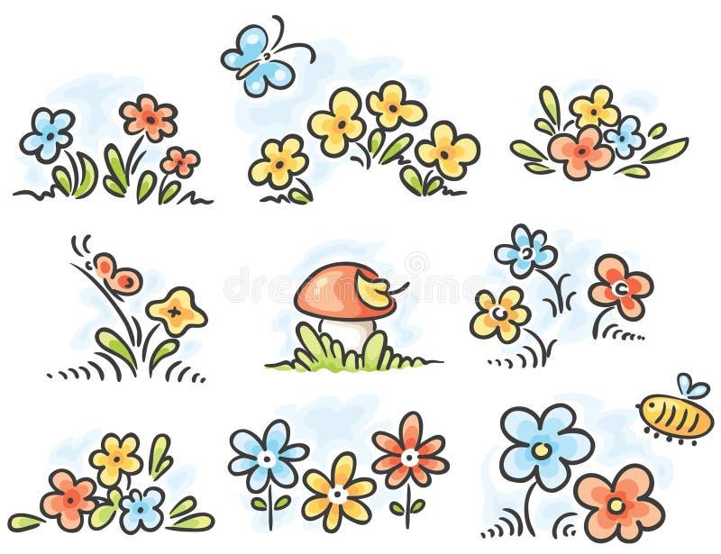 Элементы флористического дизайна шаржа иллюстрация штока