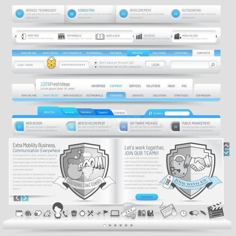 Элементы шаблона дизайна вебсайта иллюстрация вектора