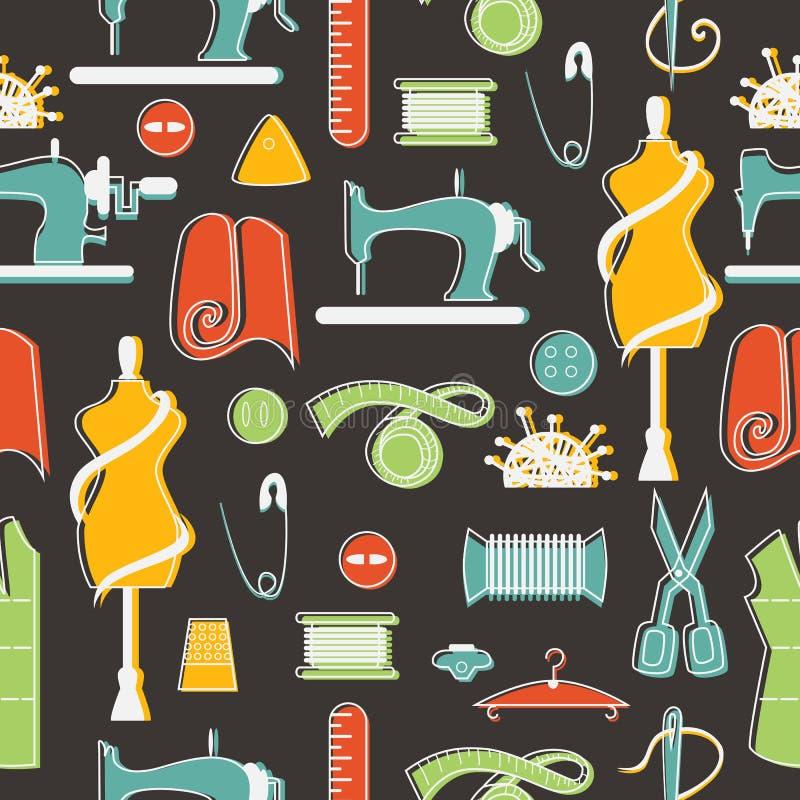 Элементы шить и портноя в безшовной картине иллюстрация штока