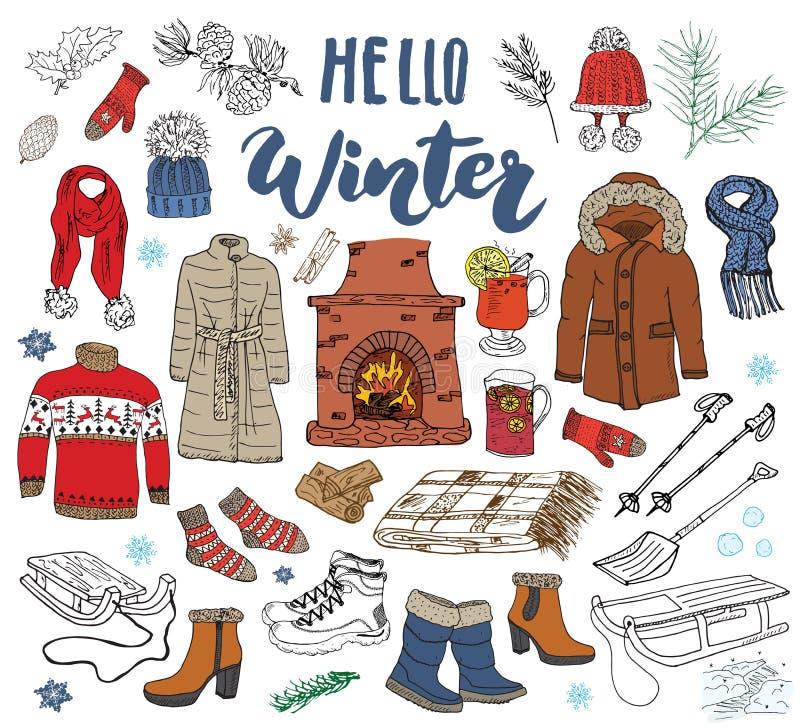 Элементы doodle сезона зимы установленные Вручите вычерченное собрание эскиза с камином, стеклом горячего вина, ботинок, одежд, т иллюстрация штока