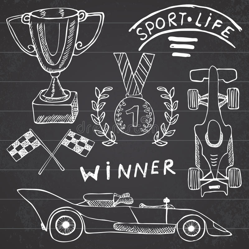 Элементы doodles деталей спорта автоматические Комплект нарисованный рукой с значком флага Checkered или гонки сигнализирует перв бесплатная иллюстрация