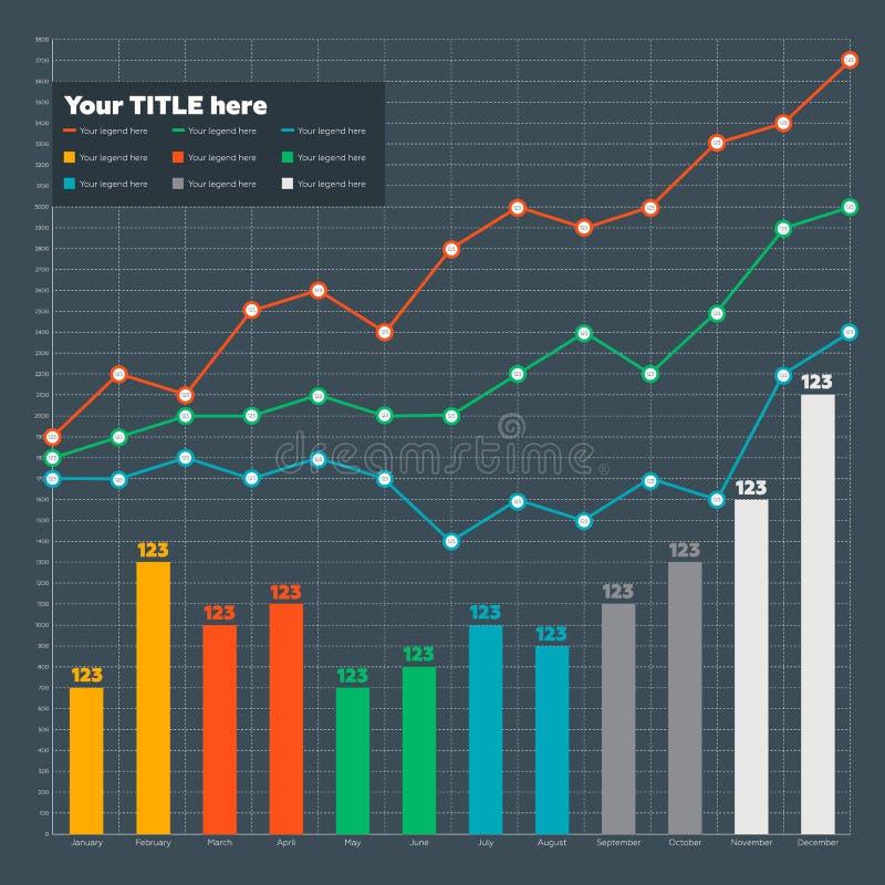 Элементы Infographic - бар и линия диаграмма стоковое фото rf