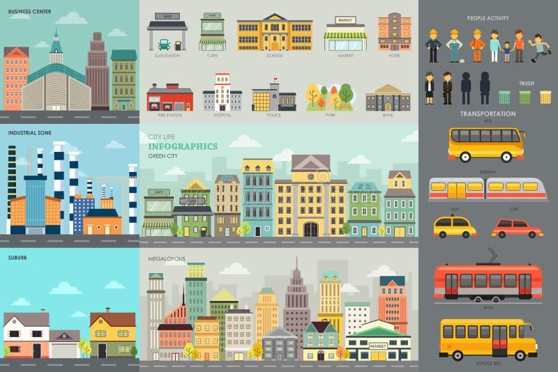Элементы Infographic городской жизни и транспорта иллюстрация штока