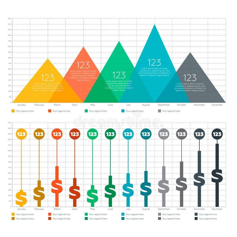 Элементы Infographic - диаграмма бара и треугольника стоковые фото