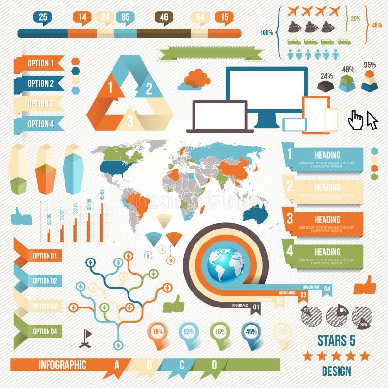 Элементы Infographic и принципиальная схема связи иллюстрация штока