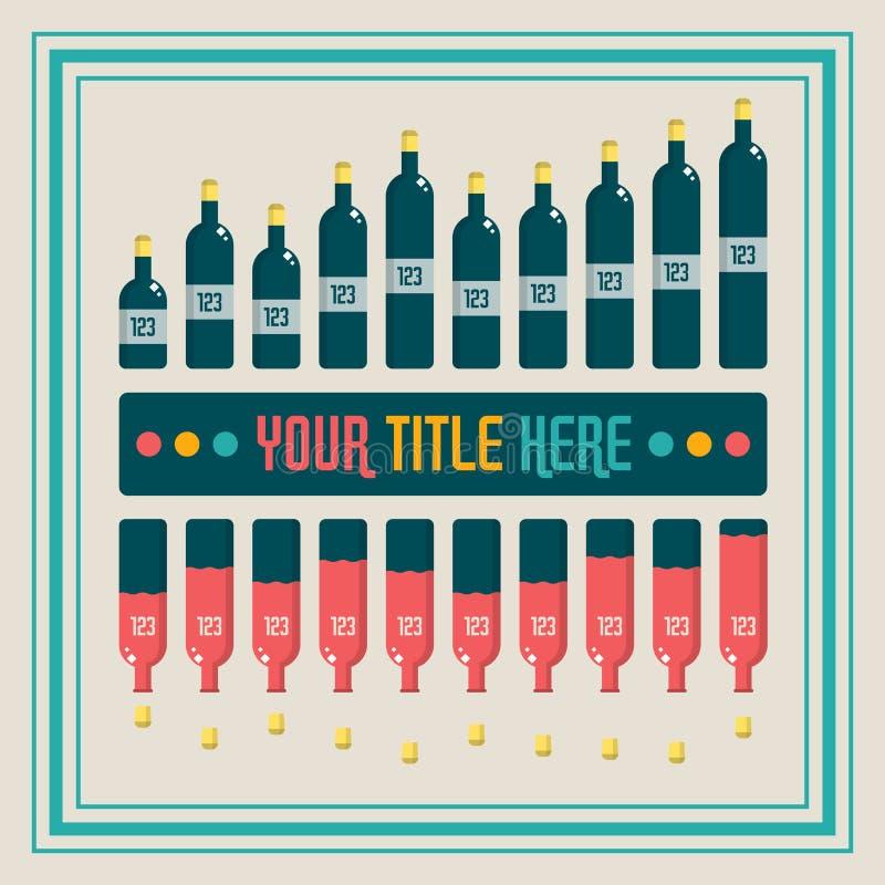 Элементы Infographics Диаграмма в виде вертикальных полос бутылки вина стоковое изображение