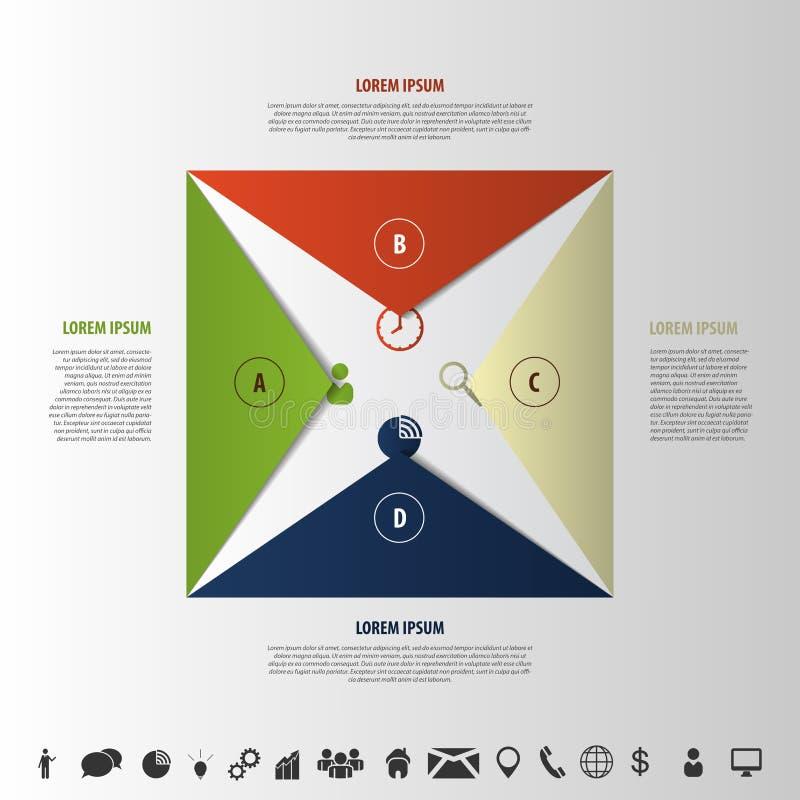 Элементы Infographics Стиль Origami Раскройте конверт с значками бесплатная иллюстрация