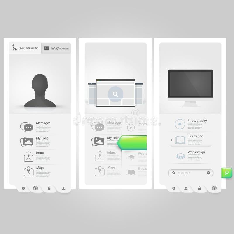 Элементы Ui шаблона Webste: Личное portfol Vcard иллюстрация вектора