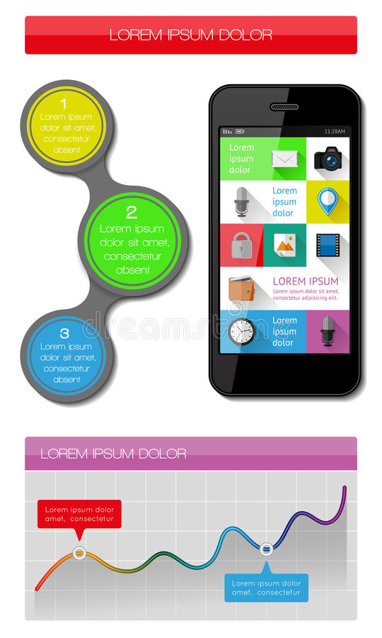 Элементы Ui, Infographics и сети включая плоский D Стоковые Фото