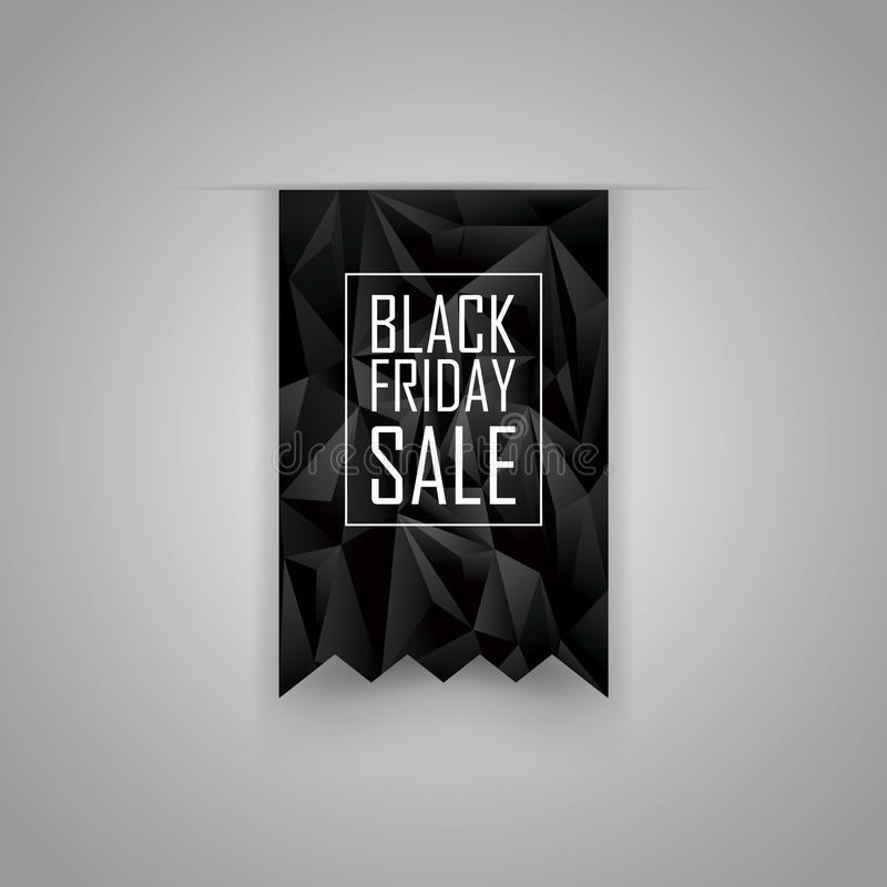 Элемент ленты черной продажи пятницы низкий поли иллюстрация вектора