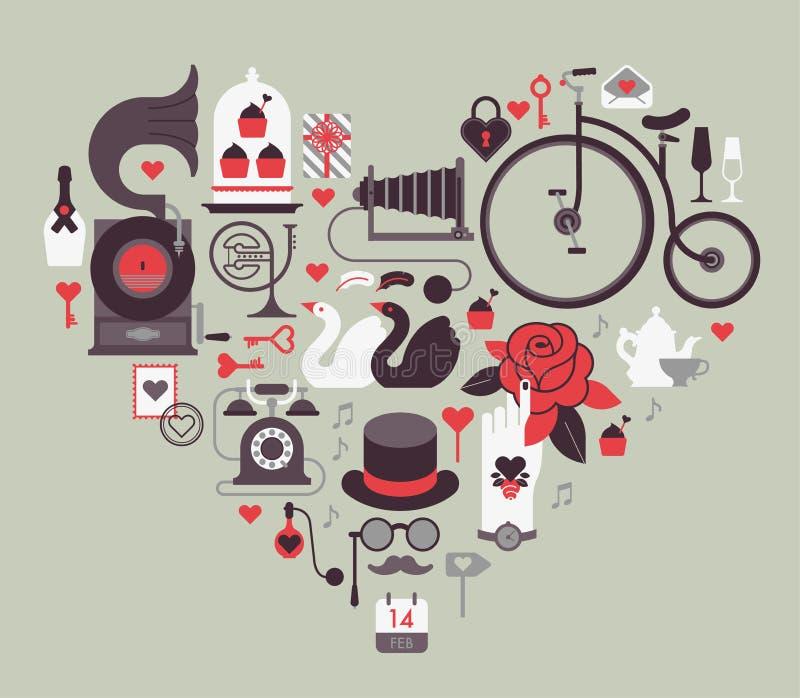 Элемент дизайна дня валентинки тематический иллюстрация штока