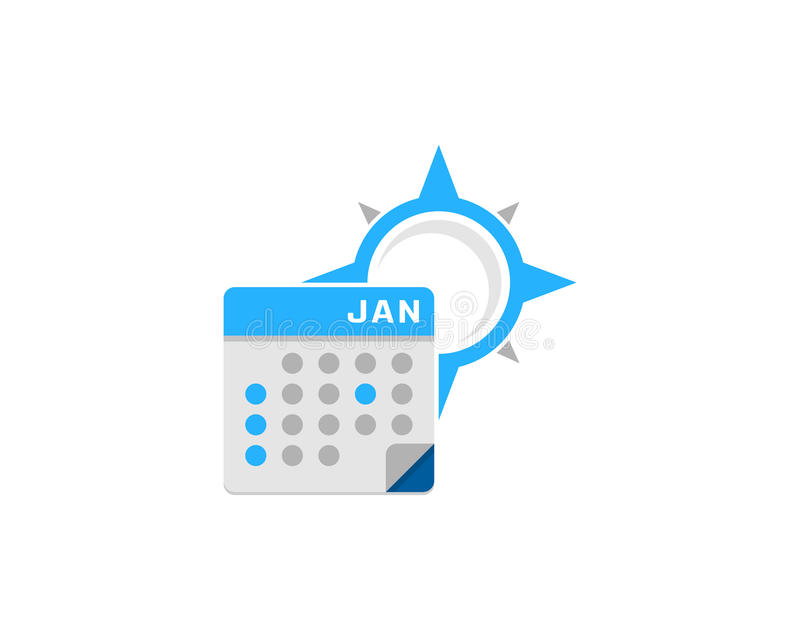 Элемент дизайна логотипа значка календаря компаса иллюстрация штока