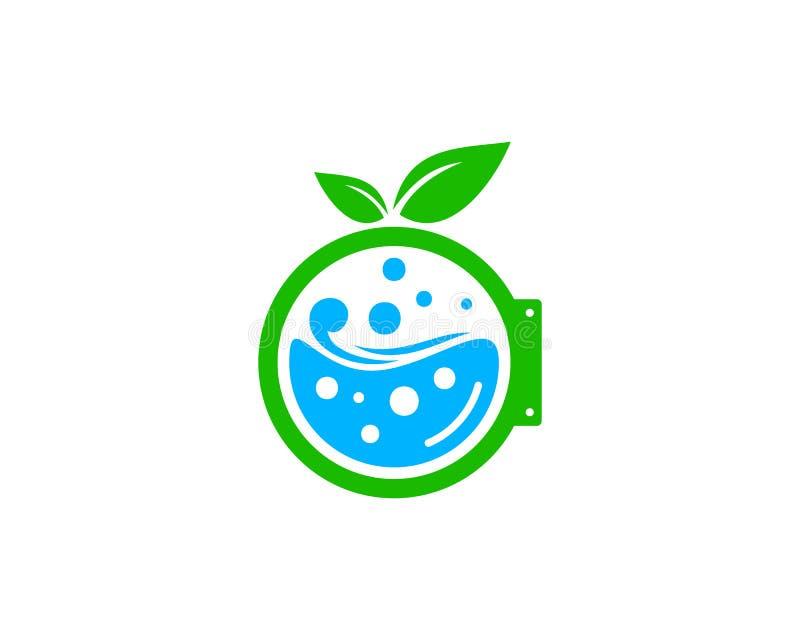 Элемент дизайна логотипа значка прачечной Eco природы иллюстрация штока
