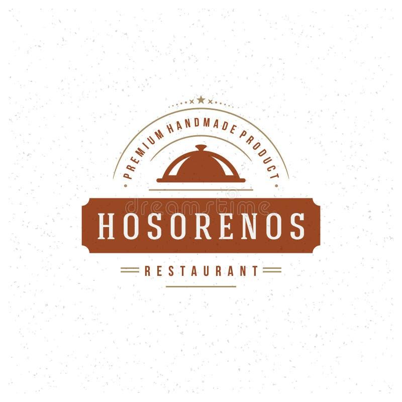 Элемент дизайна Cloche ресторана в винтажном стиле иллюстрация вектора