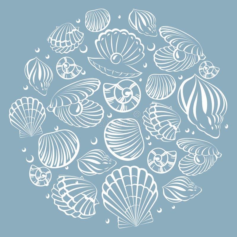 Элемент дизайна Seashell круглый иллюстрация штока