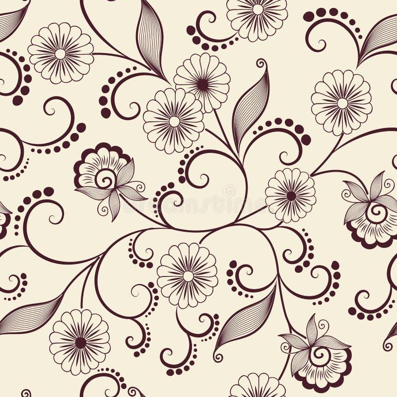 Элемент картины цветка вектора безшовный Элегантная текстура для предпосылок Классический роскошный старомодный флористический ор иллюстрация штока