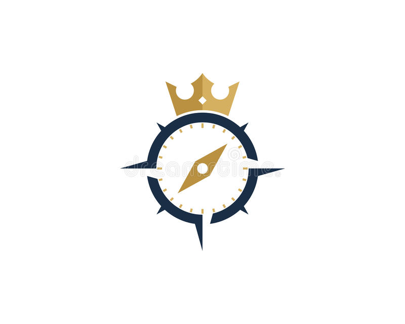 Элемент короля Компаса Значка Логотипа Конструировать иллюстрация штока