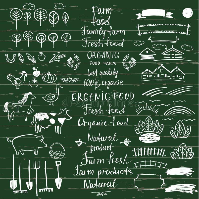 Элемент нарисованный рукой для натуральных продуктов eco Натуральный продучт экологичности бесплатная иллюстрация