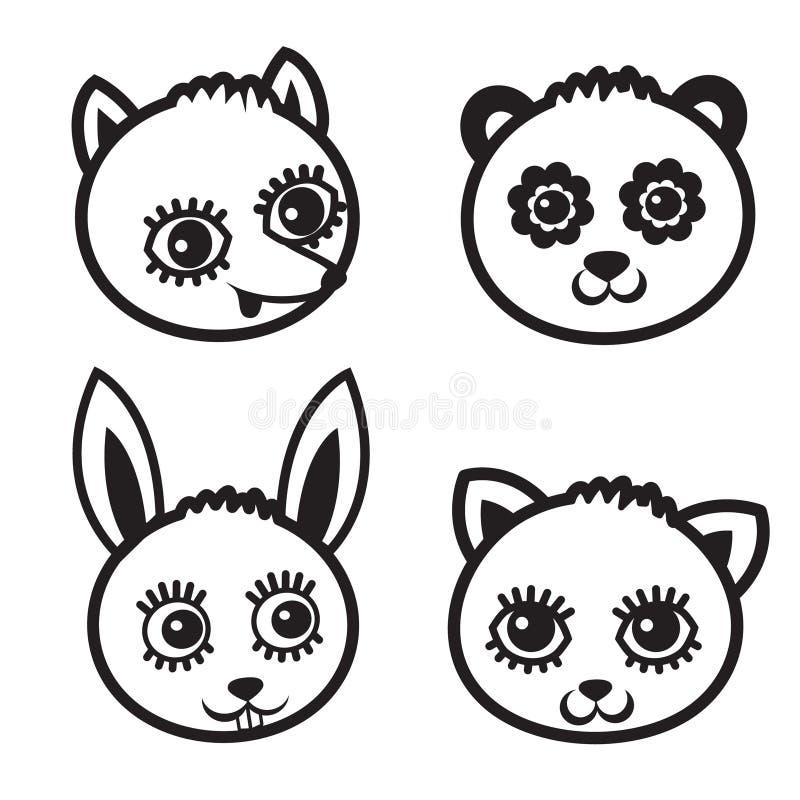 Элемент стороны шаржа животный, vector черный комплект значка иллюстрация штока