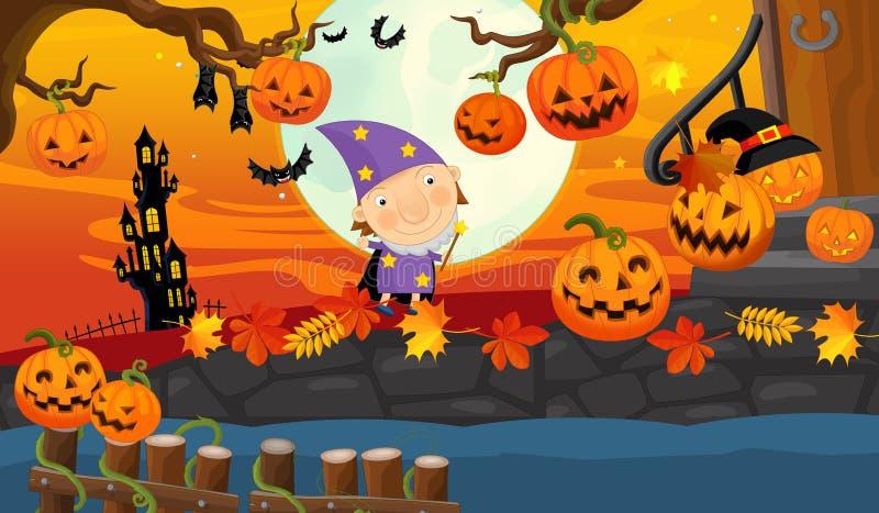 Элемент хеллоуина шаржа - тыква бесплатная иллюстрация