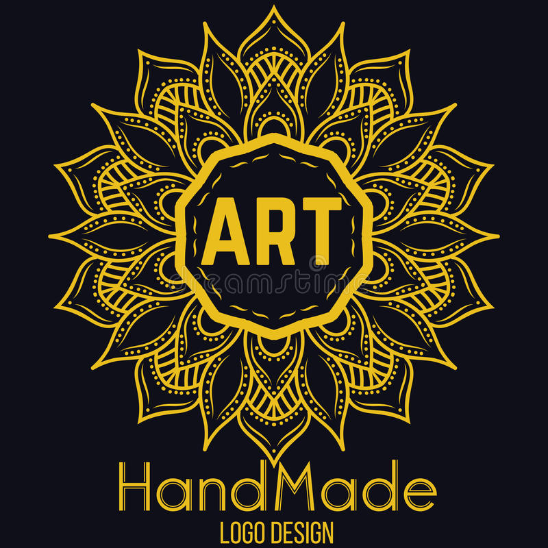 Элемент этнического логотипа декоративный вычерченная рука бесплатная иллюстрация