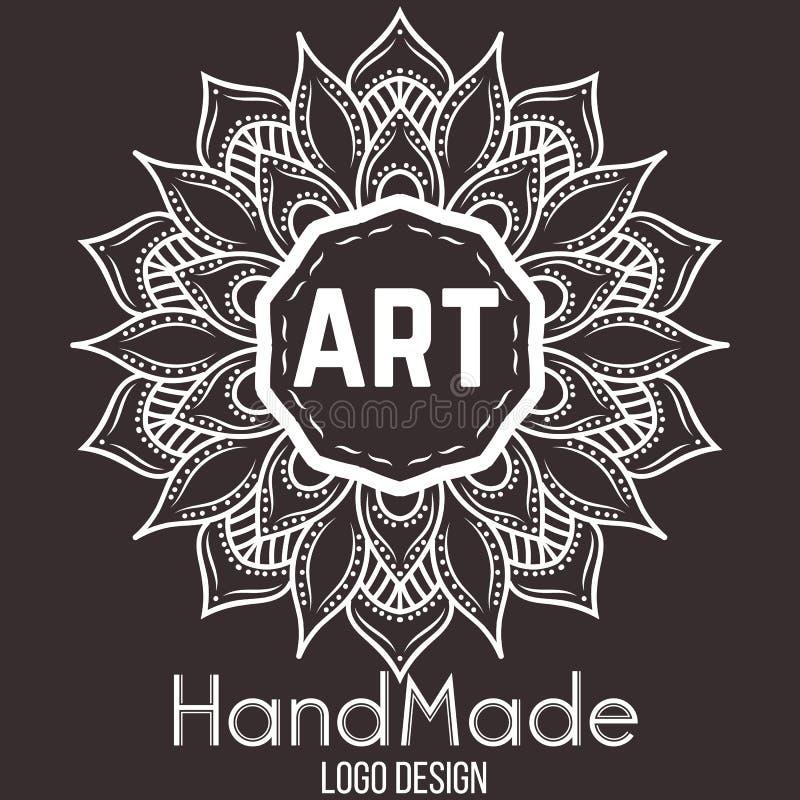 Элемент этнического логотипа декоративный вычерченная рука иллюстрация штока