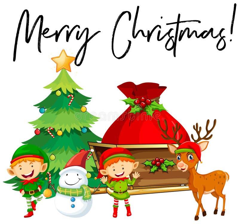 Эльфы и рождественская елка с фразой с Рождеством Христовым иллюстрация штока