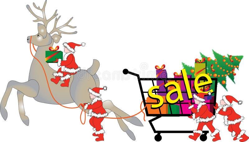 Эльфы и северный олень рождества распродажи иллюстрация штока