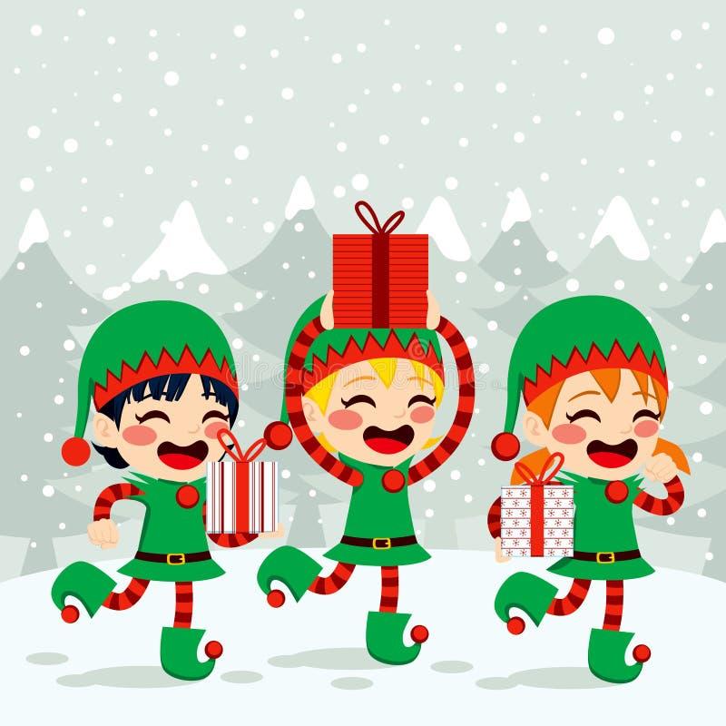Эльфы рождества нося настоящие моменты бесплатная иллюстрация