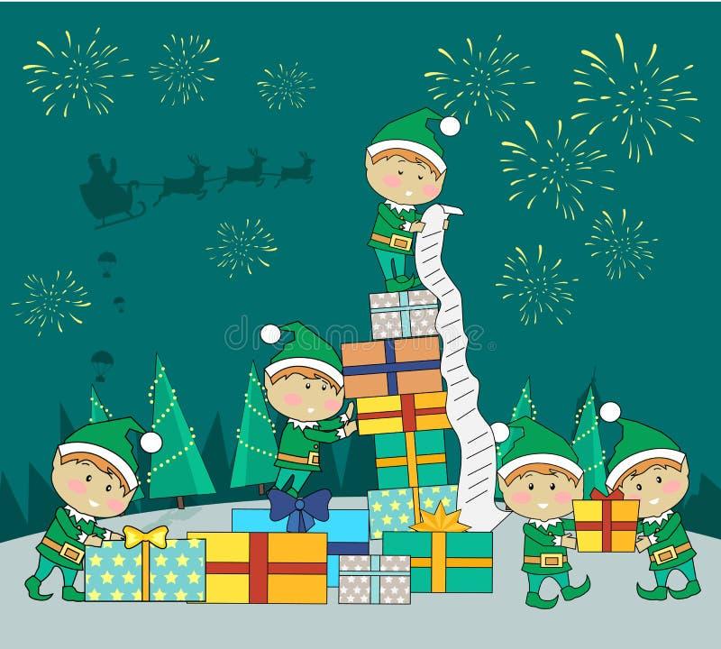 Эльфы рождества пакуя подарочные коробки настоящих моментов бесплатная иллюстрация