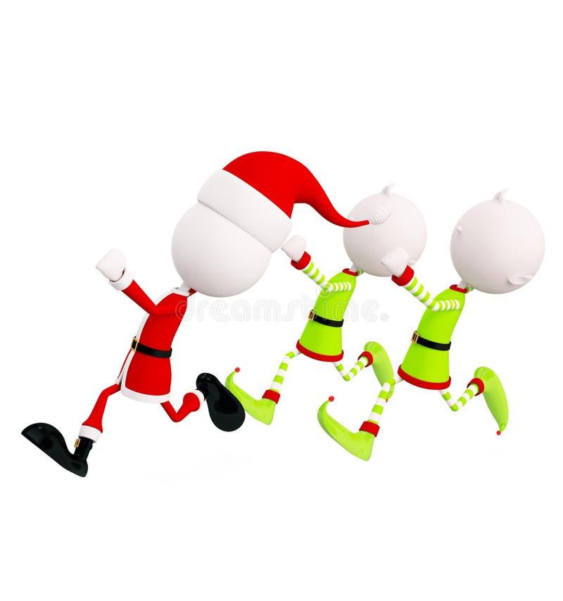 эльфы 3d и Санта для рождества иллюстрация вектора