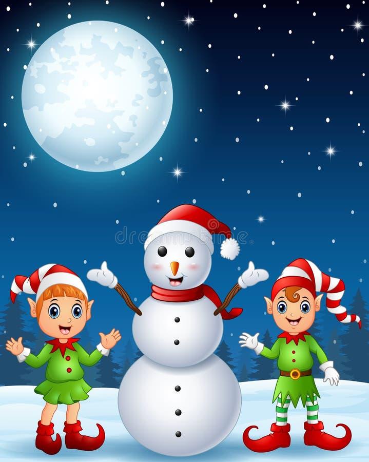 Эльф девушки рождества с эльфом и снеговиком мальчика в предпосылке ночи зимы бесплатная иллюстрация
