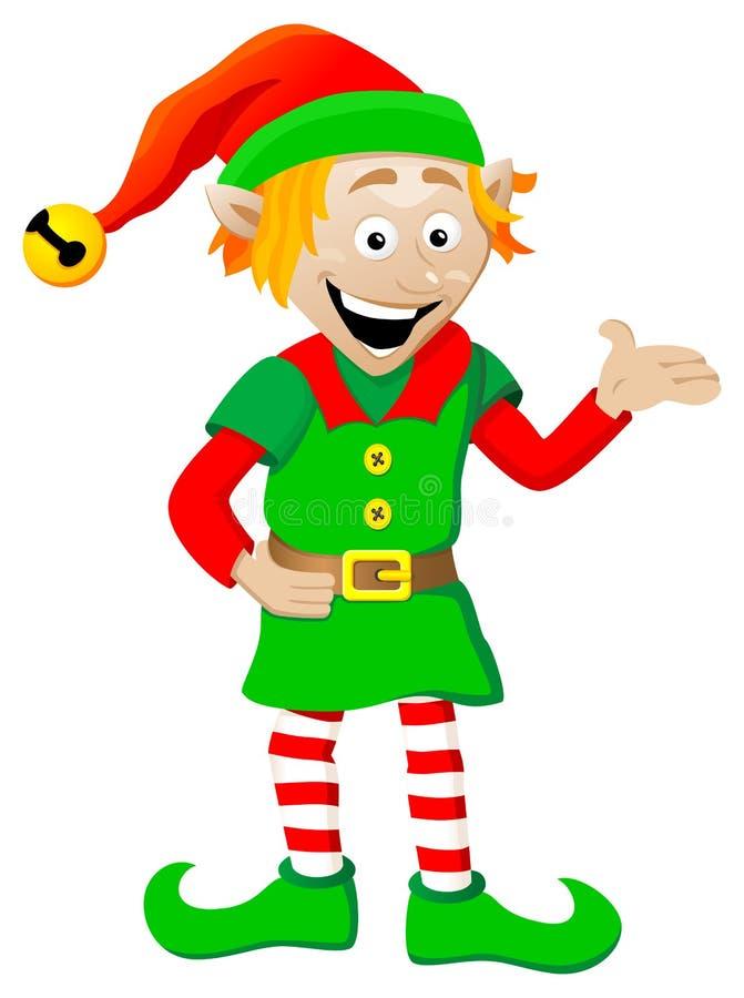 Эльф рождества на белой предпосылке бесплатная иллюстрация